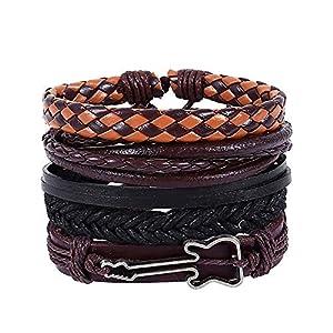 Einfache Vintage Männer handgewebte Armband,Legierung Lederarmband Gitarre Armband Set,4pc 17-18 cm einstellbare mehrschichtige Seil Halskette,Geschenk für Sie und Ihre Freunde Familie