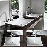 Aufsatzwaschbecken Brüssel5096 Nano in weiß Waschbecken Keramik rechteckige Form Waschplatz Waschschale