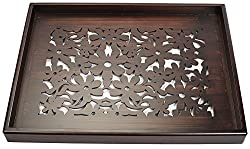 Cocktail Wooden Serving Tray, Brown