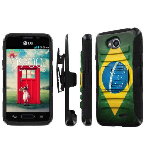 NakedShield LG Optimus L90 NakedShield LG Optimus L70 (Flag Brazil) Combat Tough Holster Kickstand Armor Phone Case