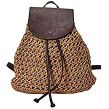 Bolso de Mujer Boho Crochet de la Vendimia Bolso Trenzado de Paja Cubierta de Cuero Simple