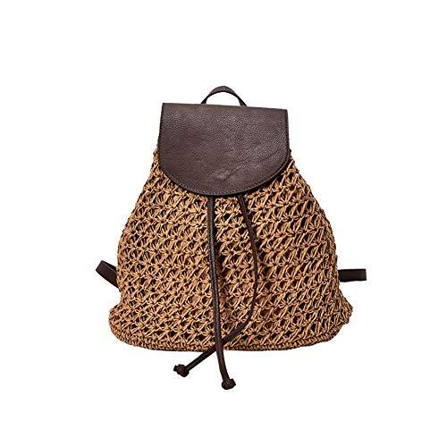 Ardentity Strohtasche Umhängetasche, Lederbezug Rucksack Rattan Stroh Schulter Beutel Handgewebte Strand Taschen für Das Gifting, Spielraum Tägliche Verwendung Rattan-rucksack