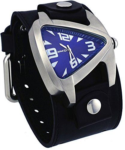 Nemesis #LBB011L2 Men's Teardrop Blue Dial Black Wide Leather Cuff Band Watch