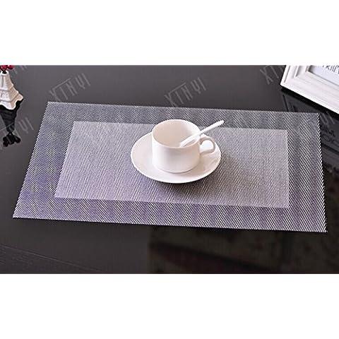 yifom PVC alimentare Isolamento Mat Pad Mat Ciotole Mat Tovaglietta, 4 Small square silver black