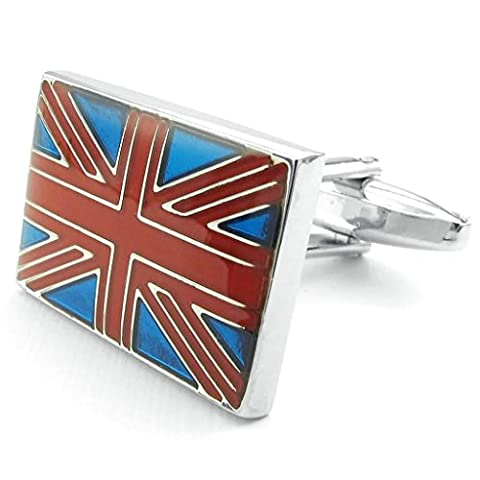 Beydodo Stainless Steel Cufflinks for Men Square Flag Red Blue Silver Cuff Links Mens Shirts Cufflinks