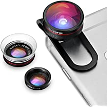 Lente para Móvile,VicTsing 3 en 1 Kit de Lentes Clip-On,Ojo de pez + 12X Macro + 24X Super Macro para iPhone, iPad, Galaxy, Sony, etc. (Los Móviles Inteligentes)