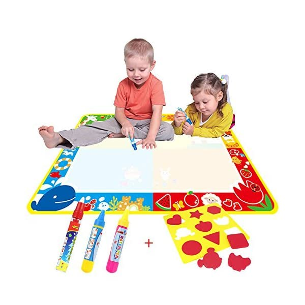 Big Magic Aqua Doodle Mat/Water Drawing Painting Mat(100cm x 73cm)with 4 Color,CJbrother Magnetic Aqua doodle Learning Painting Doodle Scribble Boards with Magic 3 Pen and 1 EVA Graphic 1