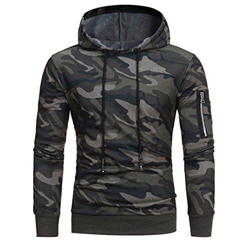 Sweatshirt Homme , Amlaiworld Manches longues Sweat à capuche camouflage Sweat capuche Tops Jacket Manteau d'usure (L, Camouflage)