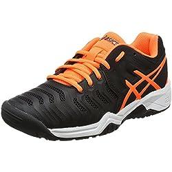 Asics Gel-Resolution 7 Gs, Zapatillas de Tenis Unisex Niños, Negro (Black / Shocking Orange / White), 33.5 EU