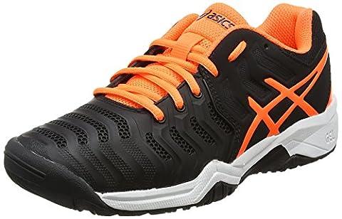Asics Gel-Resolution 7 Gs, Chaussures de Tennis Mixte Enfant, Noir (Black/Rose Shocking Orange/White), 39 EU
