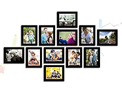 ART STREET - Zig Zag wall photo frames -12 Frames of 6 x 8 Inches .Set of 12 individual black photo frame