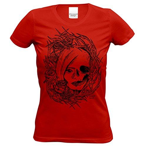 Totenkopf : Skull Biker Freizeit Shirt für Frauen Mädchen : Halloween Outift Farbe: rot Gr: S ()