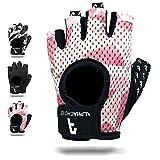 Alphachoice Fitness Handschuhe/Trainingshandschuhe ohne Handgelenksstütze für Krafttraining Gewichtheben und Bodybuilding Damen & Herren (Rose-Camouflage, S)