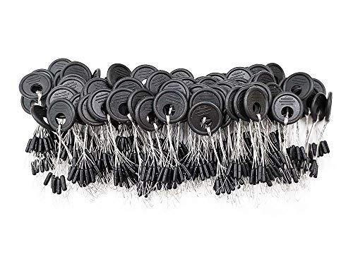 Tapones de caucho para pesca, 600 unidades, tapones y plomos 6 en 1, 3 tamaños, color naranja y negro, forma ovalada y cilíndrica, Black-Cylinder, Large