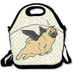 Funny Pug Flying Unicorn de perro carlino impermeable almuerzo bolso aislante reutilizable Picnic almuerzo cajas para hombres mujeres niños