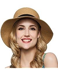 TININNA Mujeres Ladies plegable elegante lazo Floppy Sombrero de Playa Sol Sombrero De Paja Cap Visera Sombrero cloché caqui