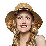 TININNA Donne Pieghevole Elegante Bowknot Floppy Cappello di Spiaggia Cappello di Paglia Cappello di Sole Visiera cap Khaki