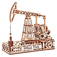Wood Trick Oil Rig Toy, Oil Derrick Rig - Oil Pump Jack Mechanical Model to Build - 3D Wooden Puzzle, Assembly Toys, ECO Wooden Toys, Best DIY Toy - STEM Toys for Boys and Girls