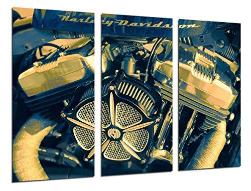 Quadro su Legno, Moto Harley Davidson, Moto d'Epoca, Motore, 97 x 62cm, Stampa in qualita Fotografica. Ref. 26495