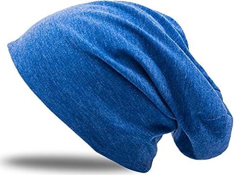 Jersey Baumwolle elastisches Long Slouch Beanie Unisex Mütze Heather in 35 verschiedenen Farben (3) (Jeans-Blue)