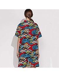 Pajamas Traje de Pijama, Algodón con Bolsillos Albornoz, Modelos Masculinos y Femeninos Algodón V-Collar Sweat Ropa de Vapor Sauna Ropa Hotel Yukata (Manga Larga),Grande,Hembra