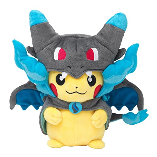 Pokemon-Center-original-plush-Pikachu-dressed-in-ponchos-megaCharizard-X-megalizardon-X