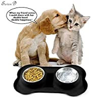 Pets Bowls Silicone Mat and Double Stainless Steel Dogs or Cats Bowl, SevenD Collapsible Travel Pet Bowl (S)