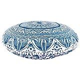 """Ombre Mandala de cojines de suelo tamaño grande, decorativo redondo manta fundas de almohada de 32"""", Indian puf Otomano, Roundie pompón de Boho fundas de almohada, al aire libre cojín,"""