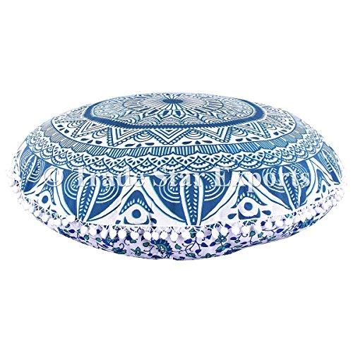 """Ombre Mandala große Bodenkissen, dekorative Runde Throw Kissenbezüge 32 \"""", indische Hocker Ottoman, Roundie Boho Kissen Shams, Pom Pom Outdoor Kissenbezug"""