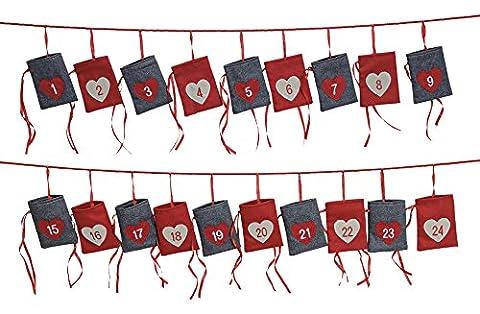 XXL Adventskalender zum Befüllen & Aufhängen aus Stoff | 340cm Weihnachtsgirlande mit Adventskalender Säckchen | Weihnachtskalender für Kinder & Erwachsene | Geschenk-Kalender als (Dezember Kalender 2016 Weihnachten)