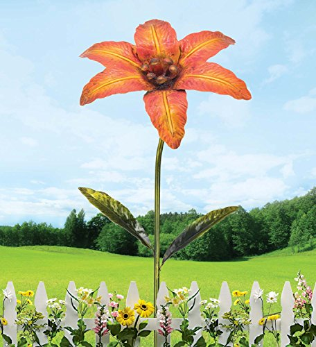 Metall Gartenstecker pink/gold – Large Gartenstecker Flower - 2