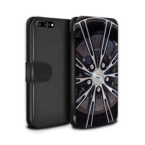 STUFF4 PU-Leder Hülle/Case/Tasche/Cover für Apple iPhone SE / Grau/Silber Muster / Leichtmetallfelgen Kollektion Silber