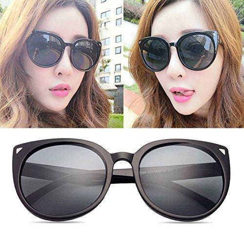 Sonnenbrille, elegant, für Damen, modisch, polarisiert, Sterne, 100% UV-Schutz, Grauer Rahmen, schwarz (Stofftasche)