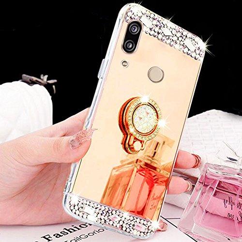 Aearl für Huawei P20 Lite Hülle Schutzhülle,Areal TPU Silikon Diamant Bling Glitzer Kristall Transparent Klar Spiegel Handyhülle [Ring Ständer Halter] für Huawei P20 Lite + Bildschirmschutz Film,Gold - Gabel Glanz