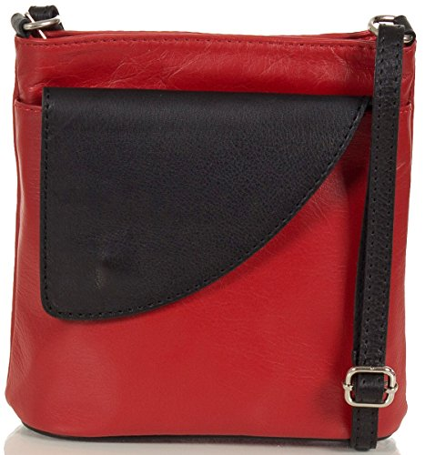 Taschenloft kleine Damen Umhängetasche I Schultertasche aus Leder (18 x 19 x 7 cm) (Rot / Schwarz) (Rote Italienische Leder)