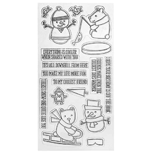 Fxikun Tampon transparent, motif bonshommes de neige en silicone transparent pour scrapbooking, gaufrage, album décoratif