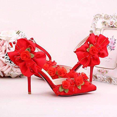 Xie Femmes Mariée Sash / Demoiselle D'honneur De Donateurs Et De La Mariée / Fleur Perlée À La Main / Talon Stiletto / Toe Tip / Sandales À Talons Hauts Rouge