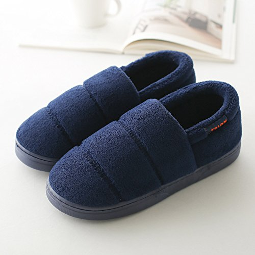 DogHaccd pantofole,Paio di pantofole di cotone uomini e donne inverno piscina home soggiorno con una spessa, custodia antiscivolo con il vello calza caldo Blu scuro2