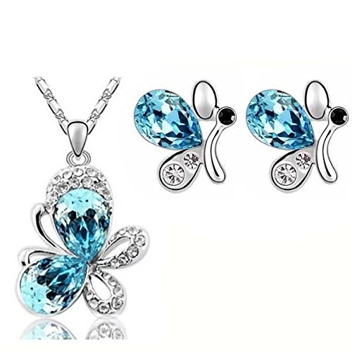 Parure papillons cristal swarovski elements plaqué or blanc Bleu turquoise