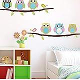 FUZILV Tierkarikatur Eulenbaum PVC-Wandaufkleber Für Kinderzimmer Jungen Mädchen Wohnkultur Sofa Lebenden Wandtattoos Kinder Aufkleber Wandpapier