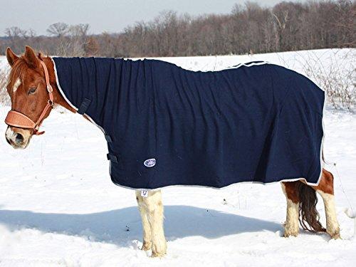 Derby Originals Pferd Fleece-Abschwitzdecke mit Halsteil, navy - 5