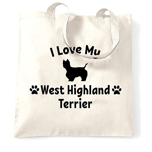 I Love My Lover regalo West Highland Terrier Dog Carino Sacchetto Di Tote White