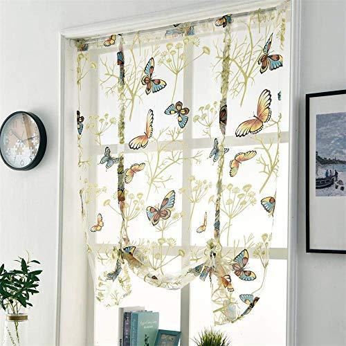 CULASIGN Raffrollo Stickerei Blumen Voile Schmetterling Transparent Gardine Vorhang Schlaufenschal Deko für Wohnzimmer Schlafzimmer Studierzimmer 1PC (100 * 120cm)
