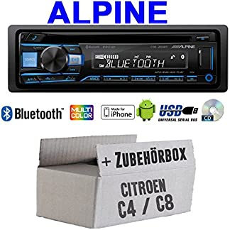 Autoradio-Radio-Alpine-CDE-203BT-Bluetooth-CD-USB-MP3-1-DIN-Auto-Einbauzubehr-Einbauset-fr-Citroen-C4-C8-JUST-SOUND-best-choice-for-caraudio