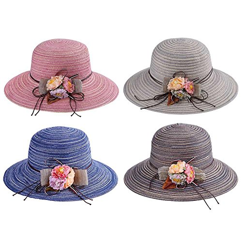 Everpert Summer Women Foldable Straw Flowers Brimmed Beach Boater Sun Panama Hats