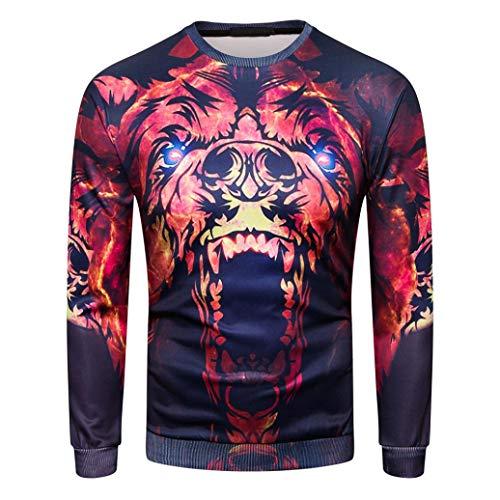 MRULIC Herren Pullover Herbst Pullover Shirt Top 3D Blumendruck Design Oktoberfest Halloween Kostüm(F-Rot,EU-46-48/CN-L)