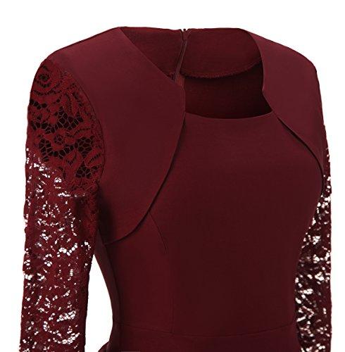 Gigileer Damen Kleider 3/4 Arm mit Spitzen Knielang Abendkleid Minikleid festlich Cocktail Party Burgundy M -