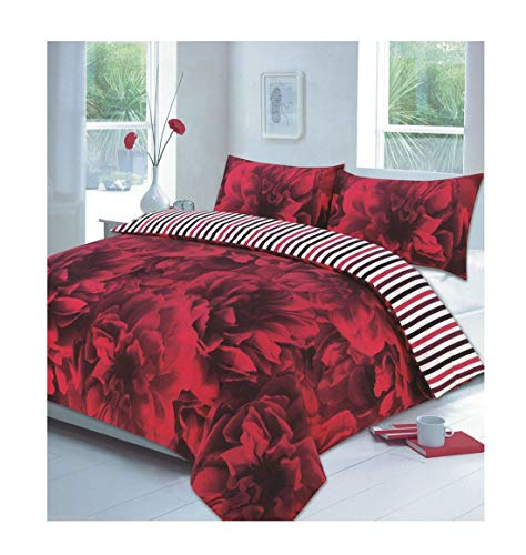 Islander Fashions Rose Floral moderner Bettbezug mit Kopfkissenbezug Poly Cotton Bettw�sche Set Rot Single