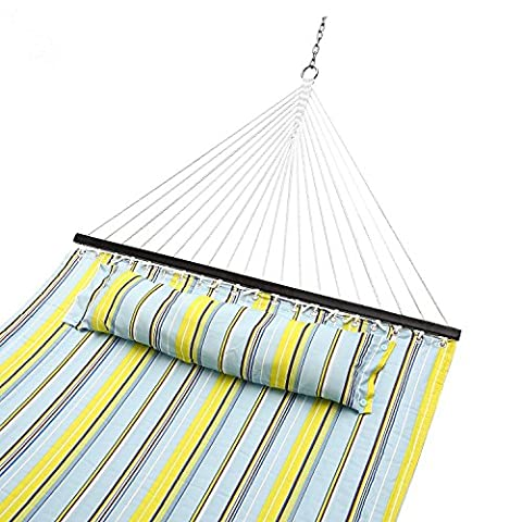 Sportneer Double Hammock Quilted Fabric Double Wide Solid Spreader Bar for Outdoor Patio (Hatteras Amache Swing)