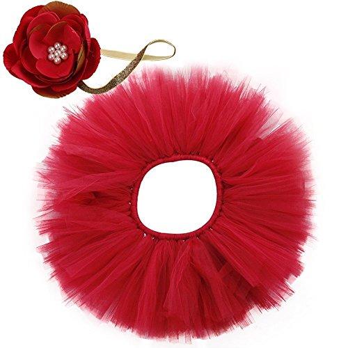 JT-Amigo Baby 2er Bekleidungsset (Rock+ Stirnband), Kostüm für neugeborene Mädchen, Rot, 0-2 Monate